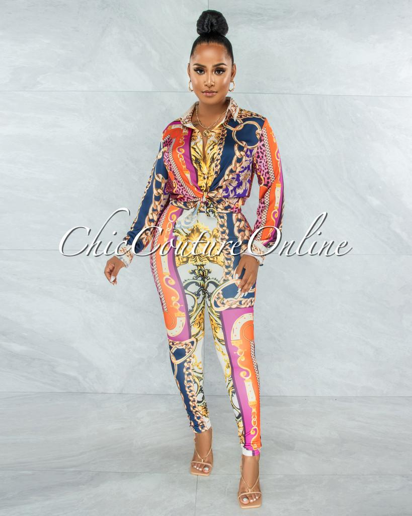 Carida Nude Navy Multi-Color Print Blouse & Leggings Set