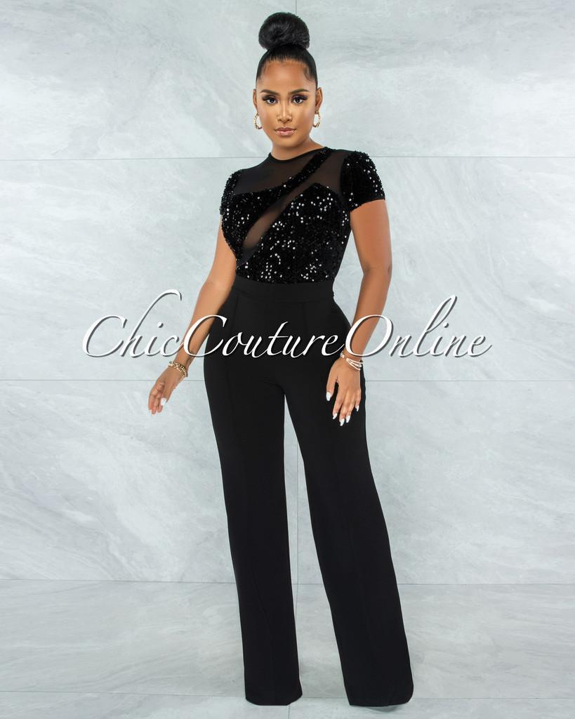 Flera Black Sequin Sheer Top Jumpsuit