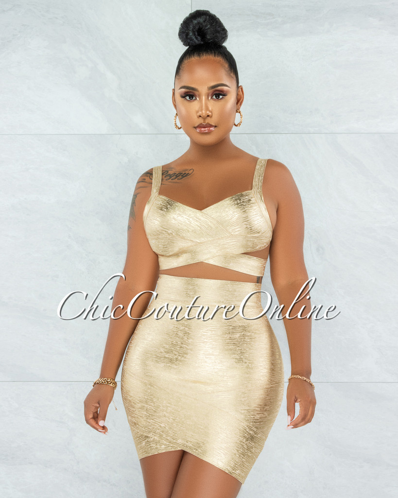 Chica Nude Gold Foil Bandage Two Piece Set