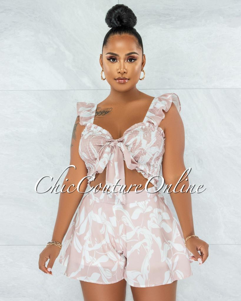 Esperanza Nude White Print Smocked Tie Top Two Piece Set