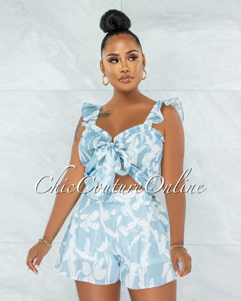 Esperanza Sky Blue White Print Smocked Tie Top Two Piece Set