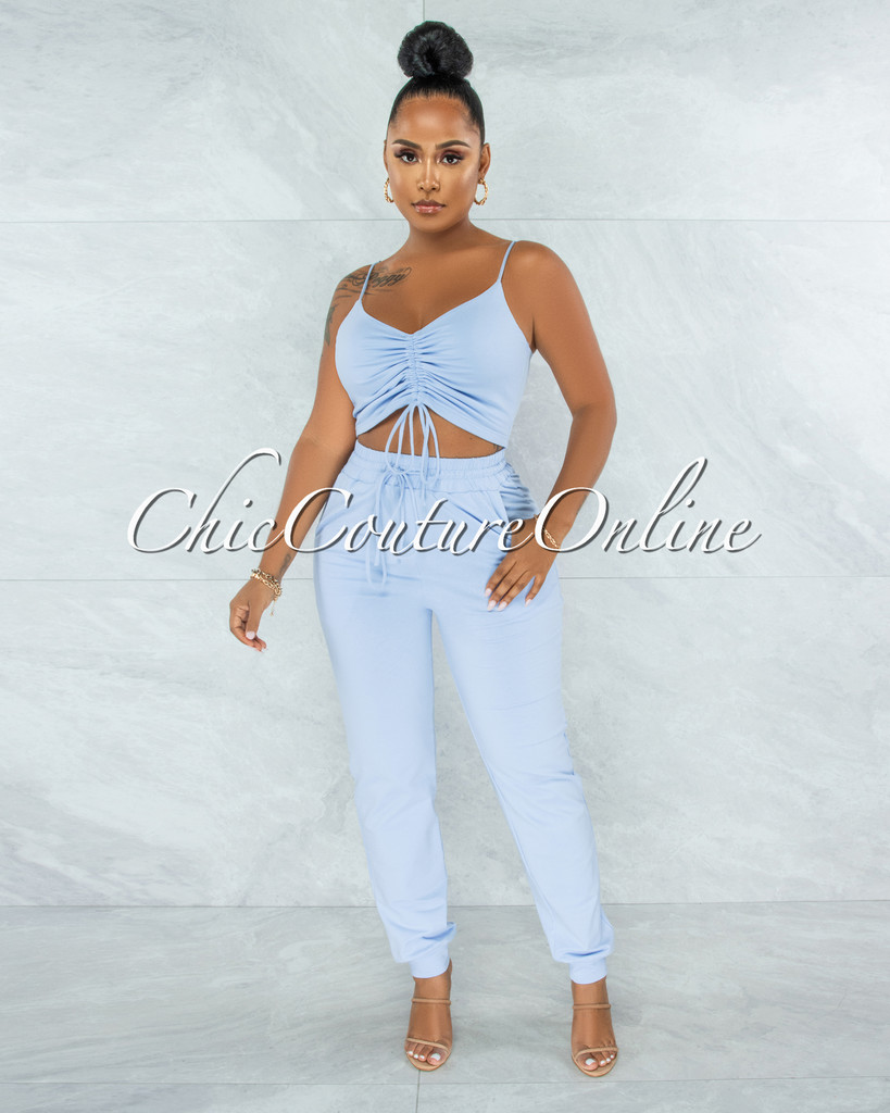 Ansley Baby Blue Ruched Crop Top & Jogger Pants Set