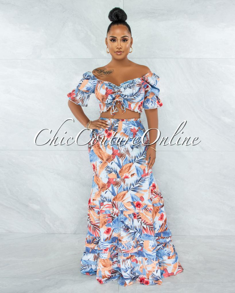 Chauve Blue Coral Print Smocked Ruffle Skirt Set