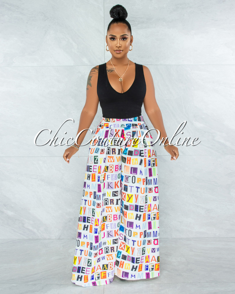 Bazzi Off-White Multi-Color Letters Print Pleated Wide Pants