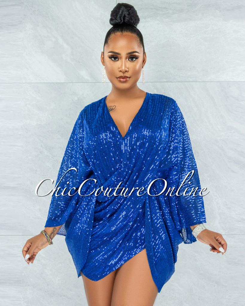 Duarte Royal Blue Sequins Drape Kimono Dress