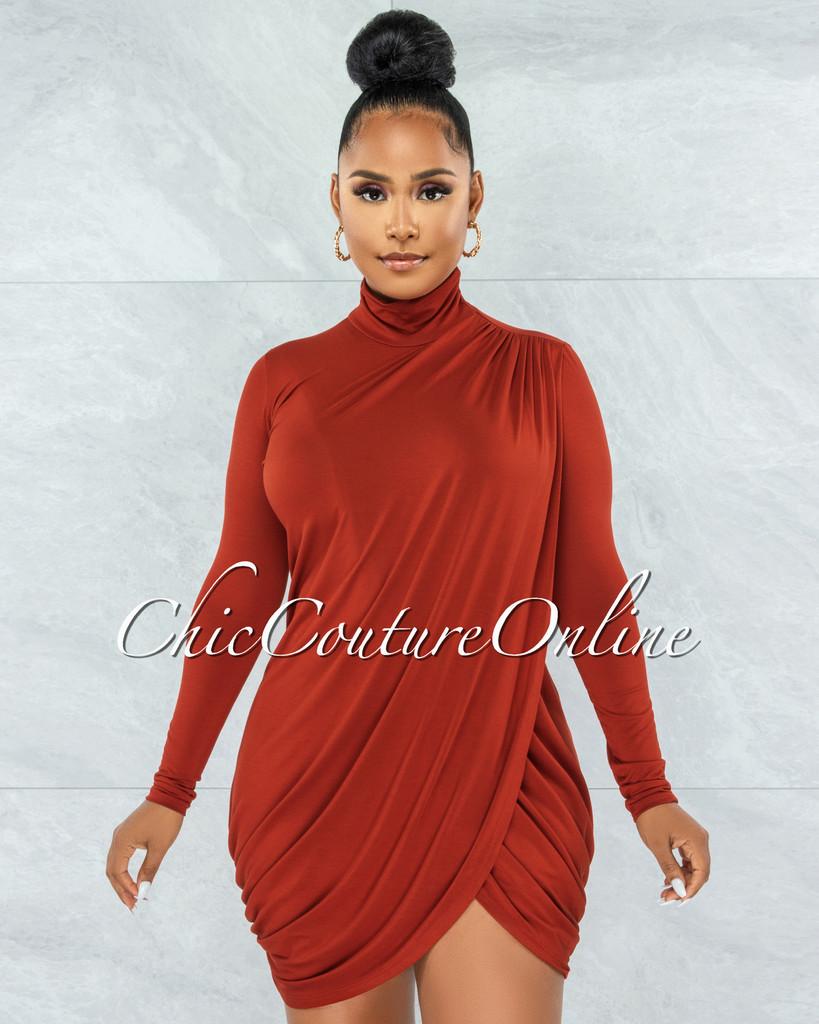 Tamira Rust Front Slit Drape Details Dress