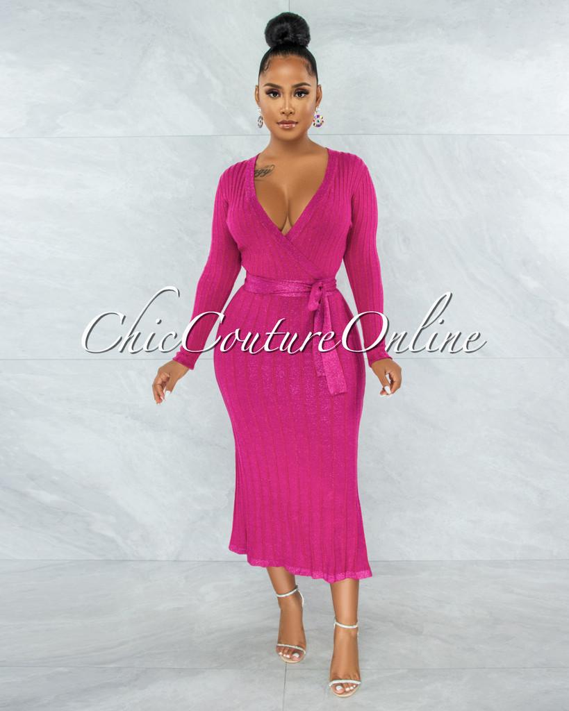 Gaelle Fuchsia Shimmer Knit Flare Bottom Wrap Dress