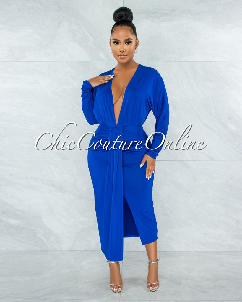 Saheli Royal Blue Deep V-Neck Front Drape Maxi Dress