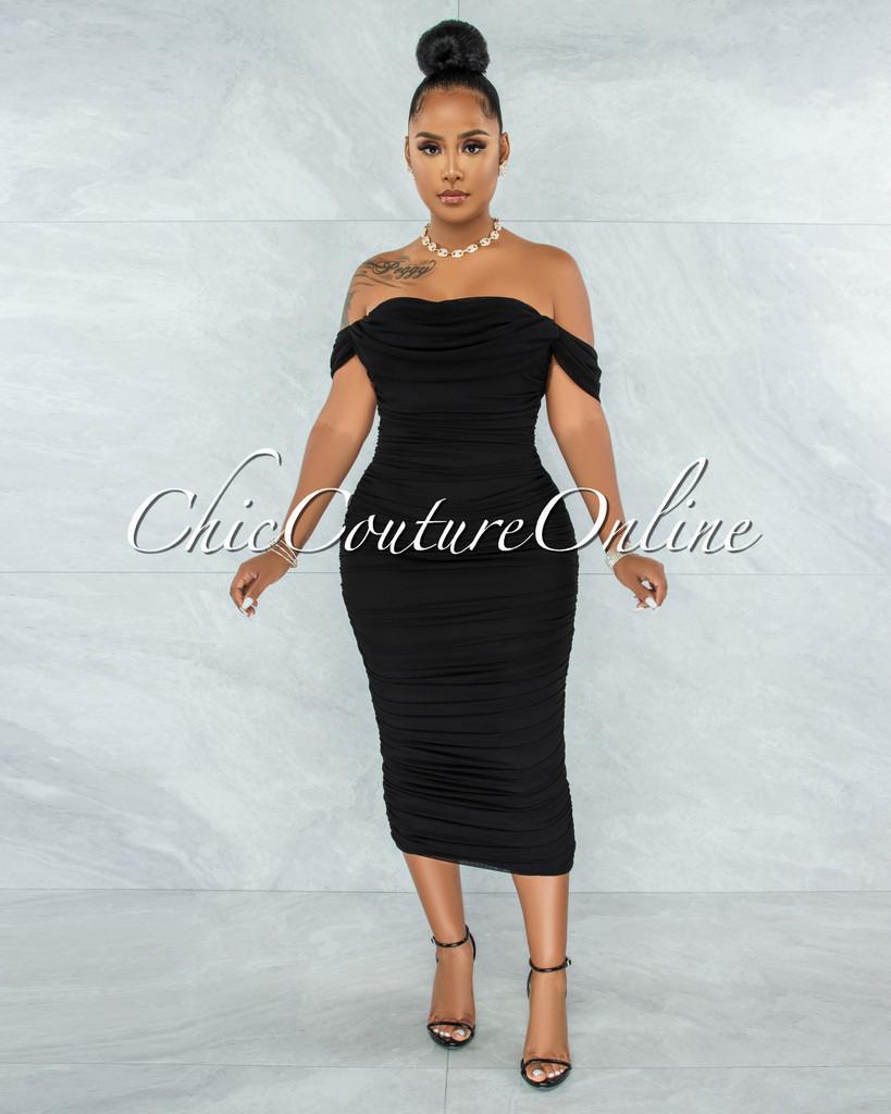 Becca Black Mesh Overlay Ruched Off-The Shoulder Dress