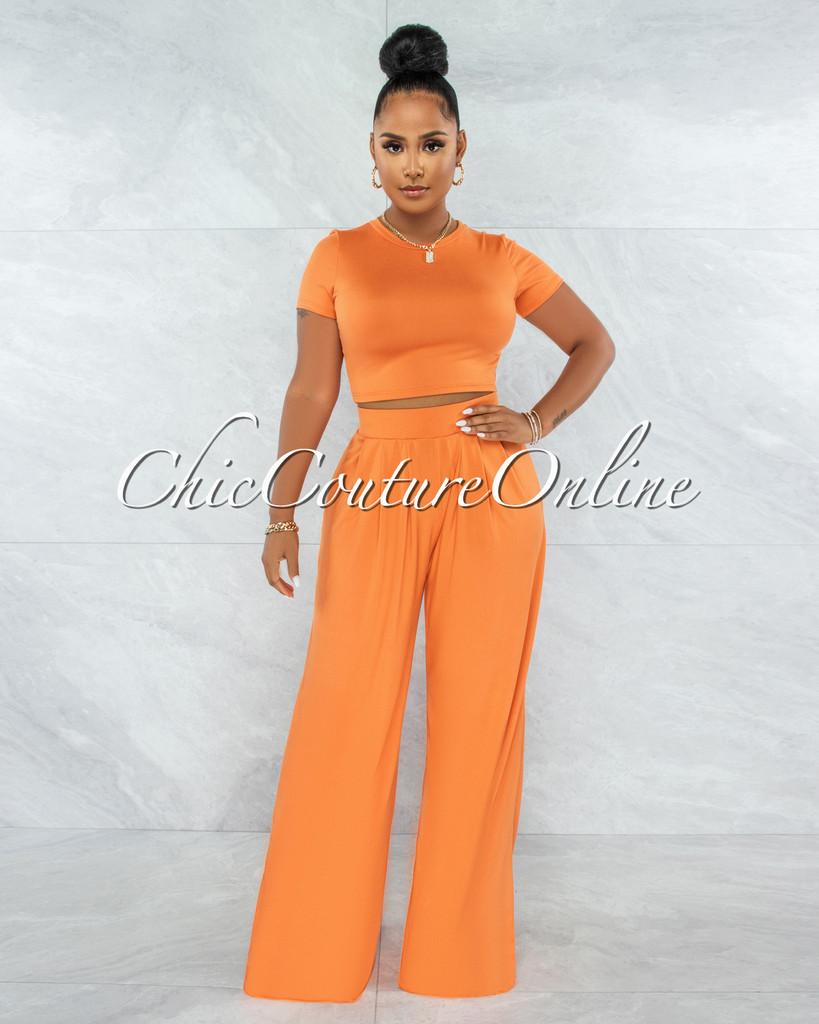 Noya Orange Crop Top & Wide Pants Set