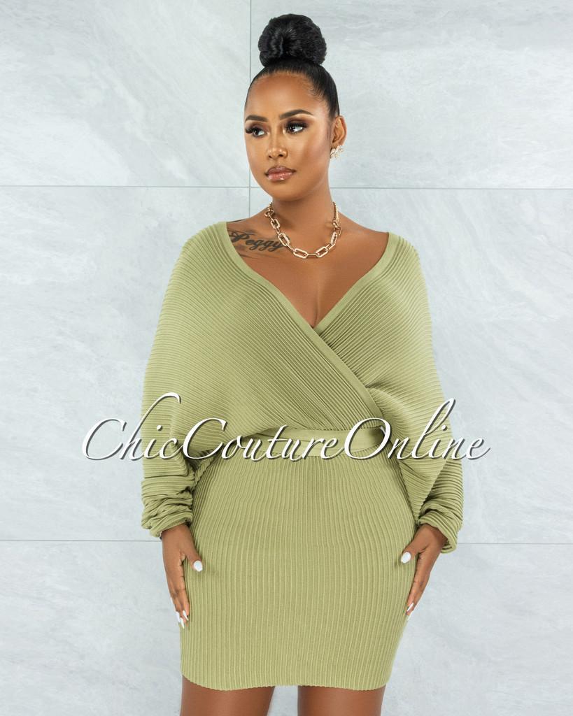 Evangel Sage Green Ribbed Wrap Sweater Dress