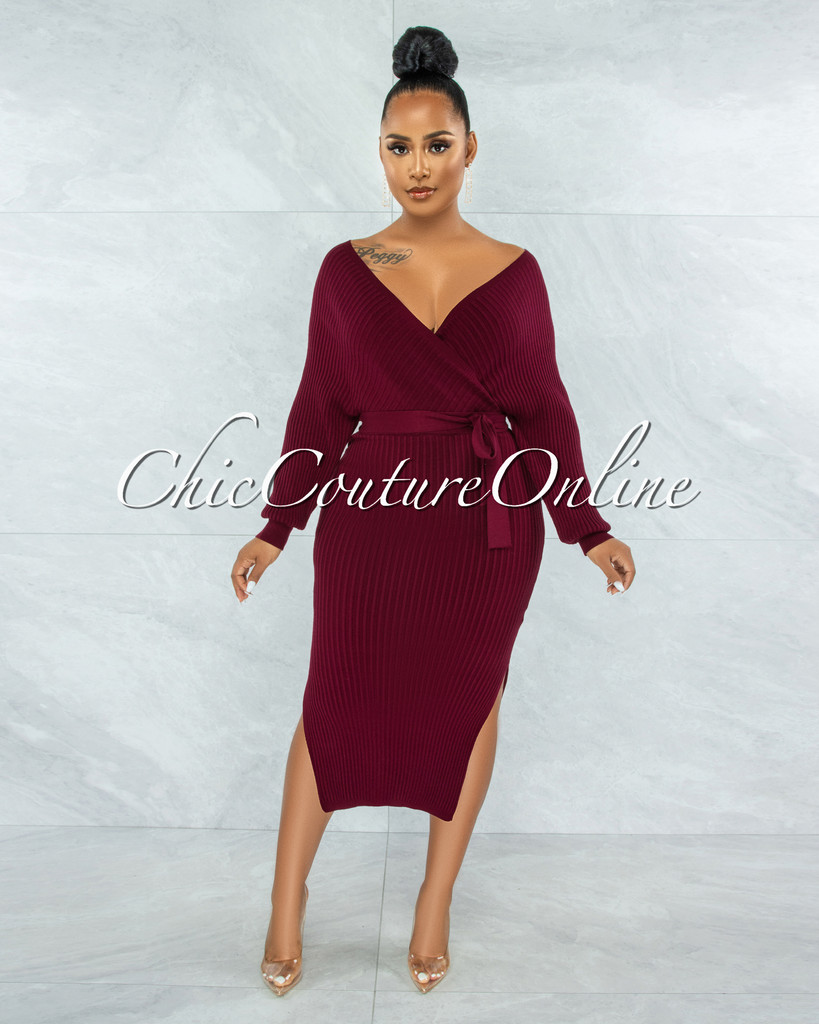Levant Burgundy Ribbed Wrap Sweater Midi Dress