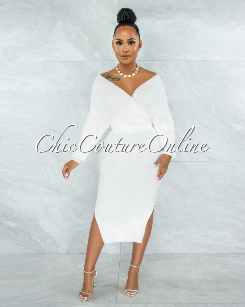Levant Off-White Ribbed Wrap Sweater Midi Dress
