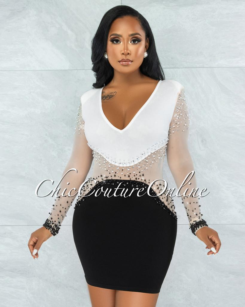 McKayla Off-White Black Pearl Accents Dress