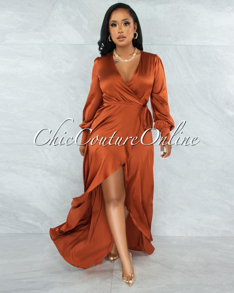 Garner Cognac Wrap Maxi Satin Dress