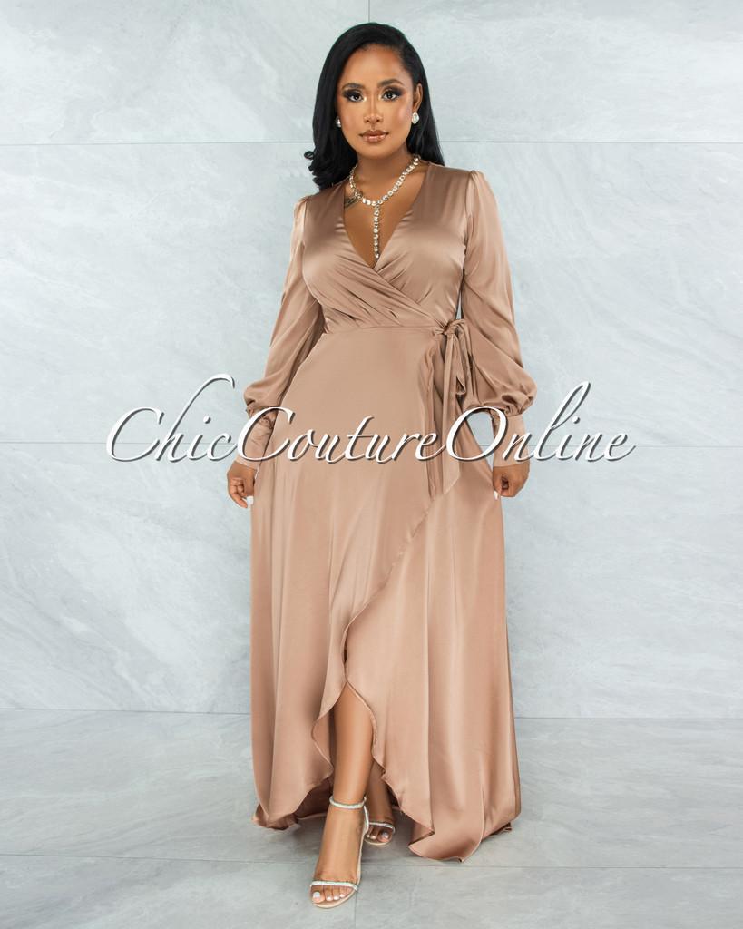 Garner Nude Wrap Maxi Satin Dress