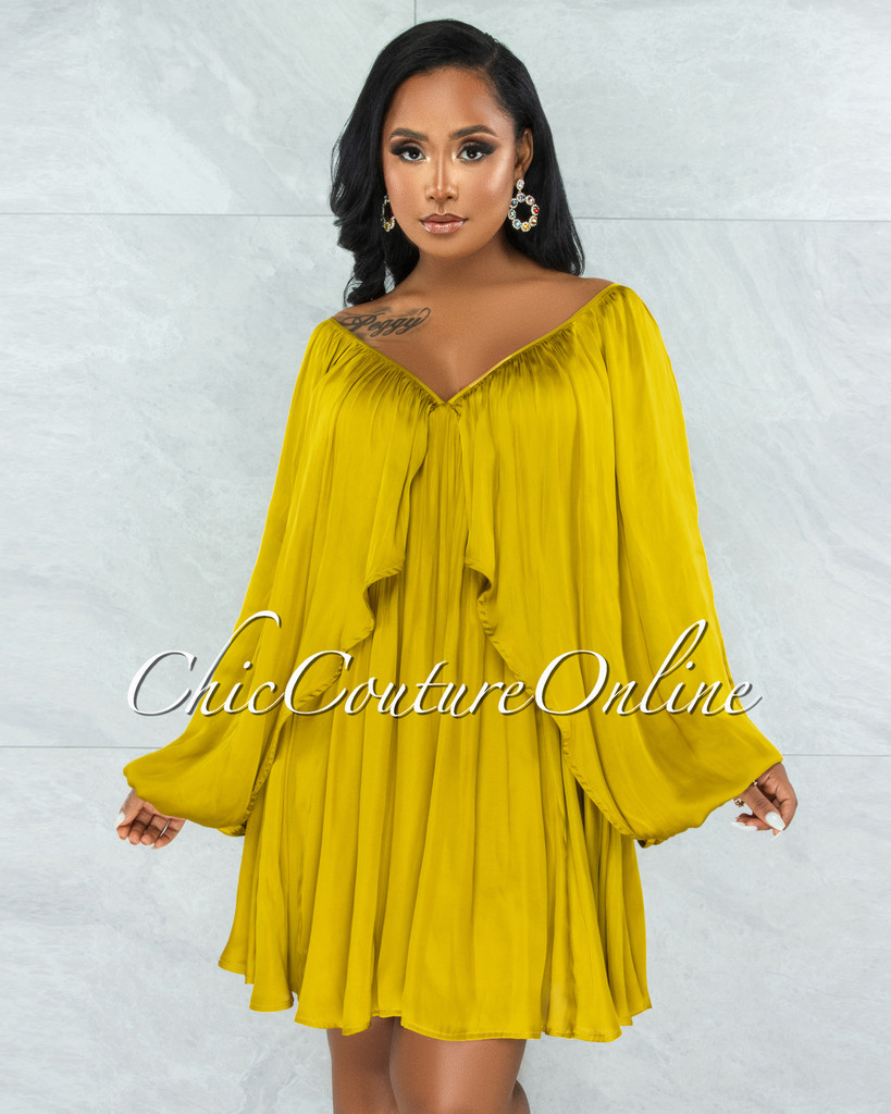 Mohave Chartreuse Overlay Wide Sleeves Silky Dress