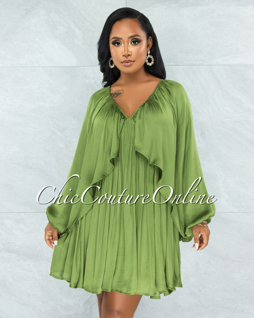 Mohave Olive Green Overlay Wide Sleeves Silky Dress