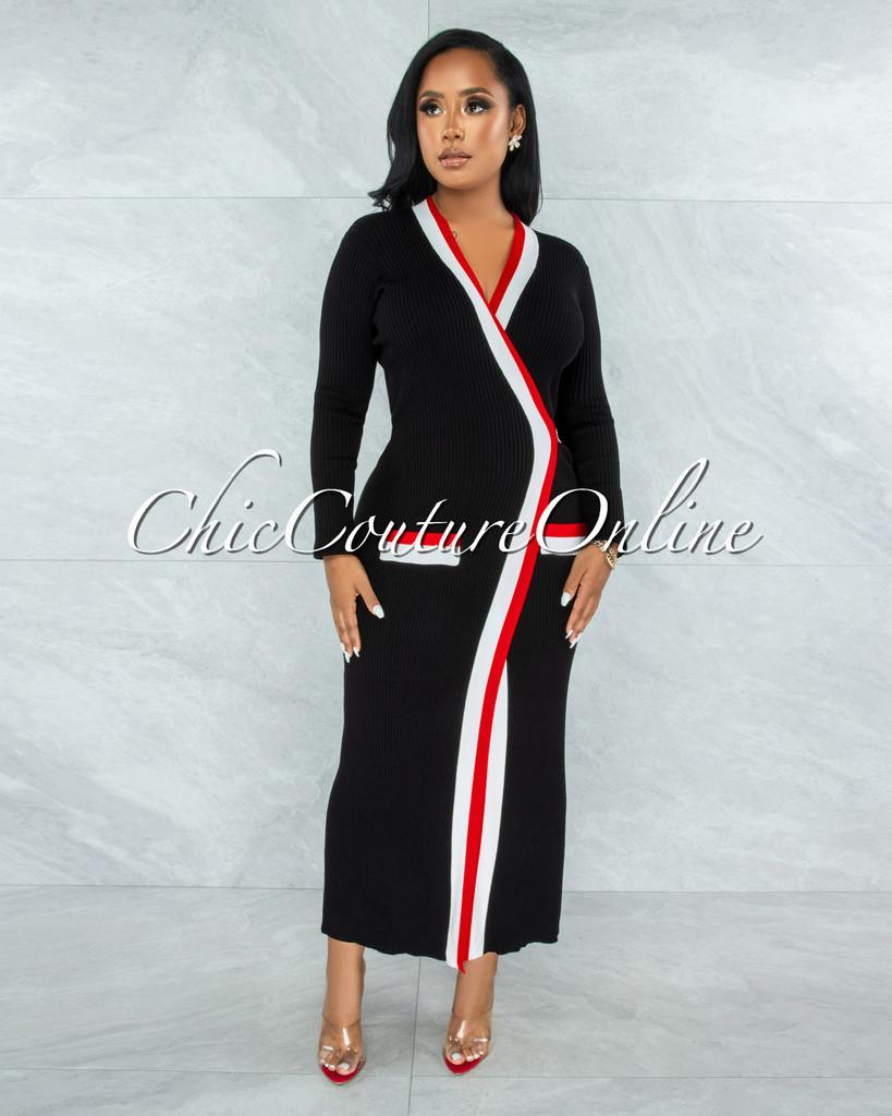 Sissy Black Red White Trim Sweater Cardi Dress