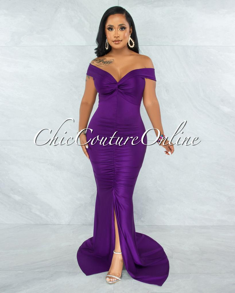 Glenna Purple Front Knot Ruched Slit Maxi Dress