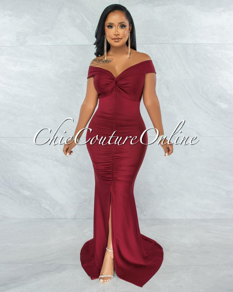 Glenna Burgundy Front Knot Ruched Slit Maxi Dress