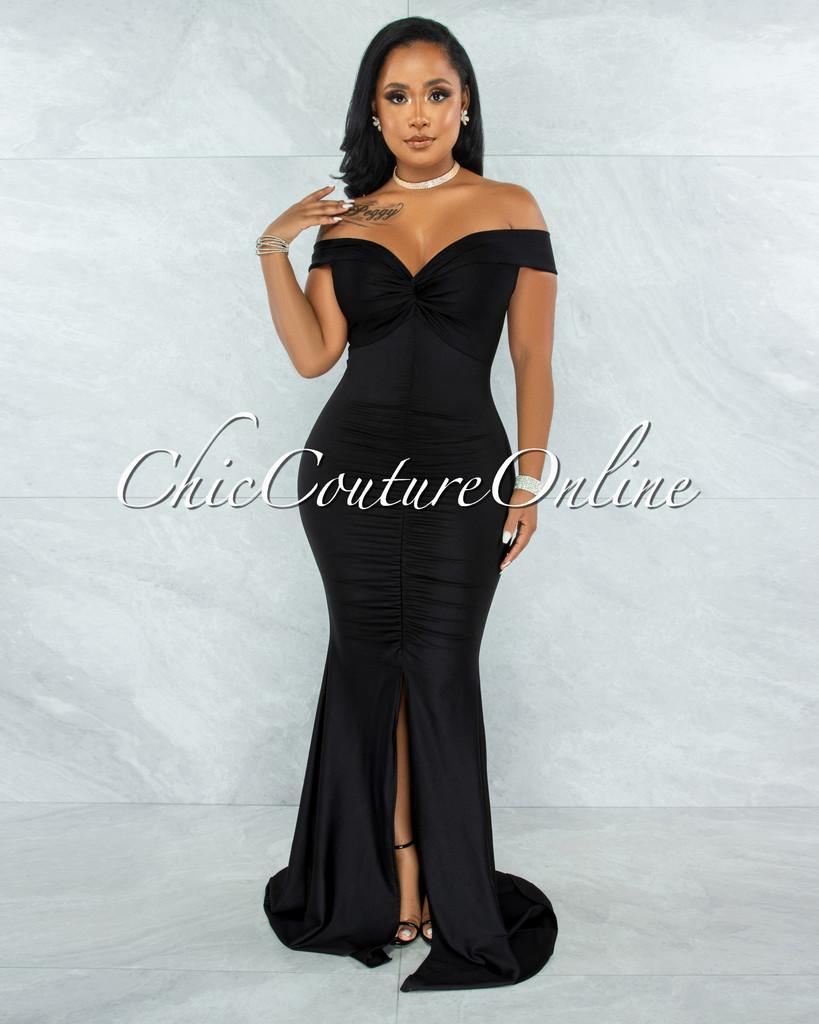 Glenna Black Front Knot Ruched Slit Maxi Dress