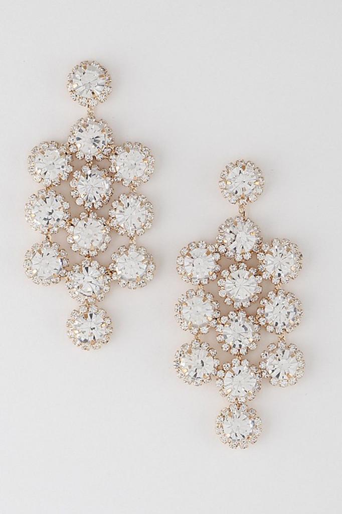 Stassy Gold Flower Jewel Drop Earrings