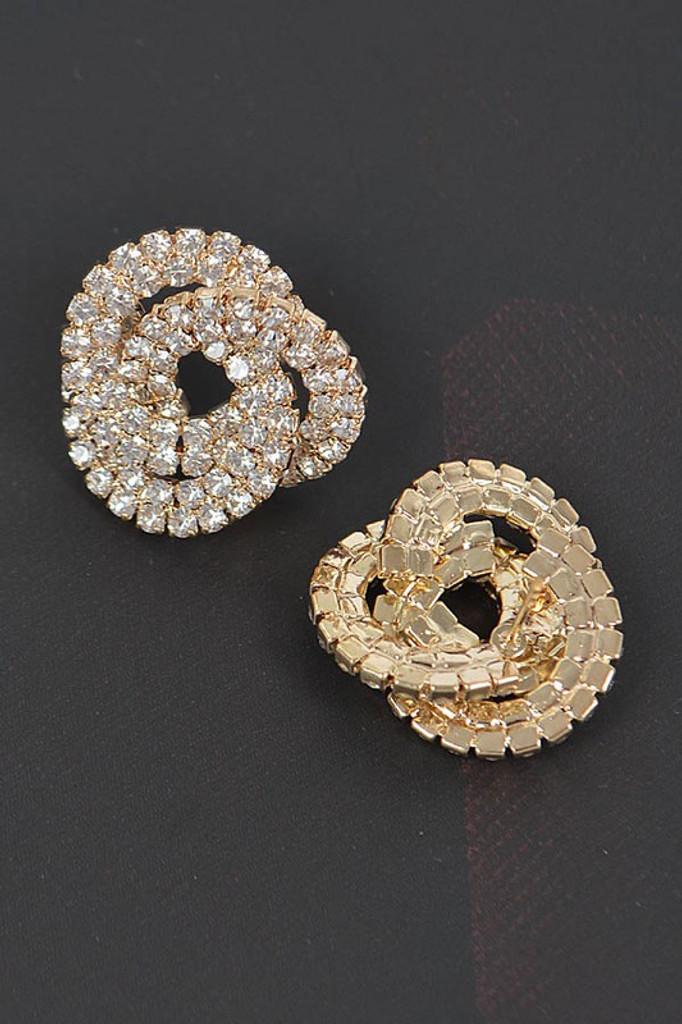 Marianna Gold Rhinestone Button Earrings