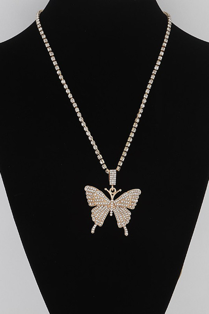 Christy Gold Rhinestone Butterfly Necklace