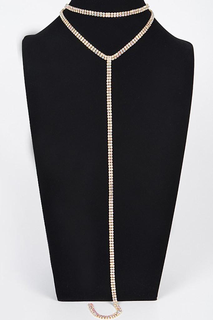 Sharon Gold Long Choker Necklace