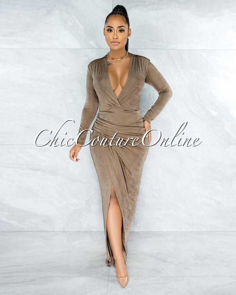 Nuriel Mocha Shimmer V-Neck Draped Wrap Bottom Maxi Dress
