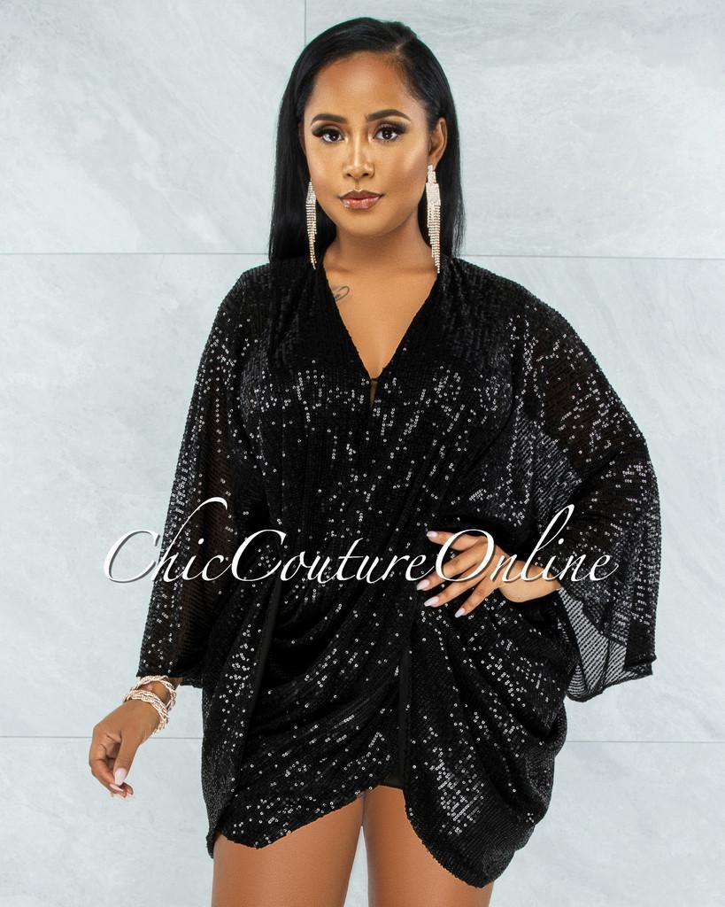 Duarte Black Sequins Drape Kimono Dress