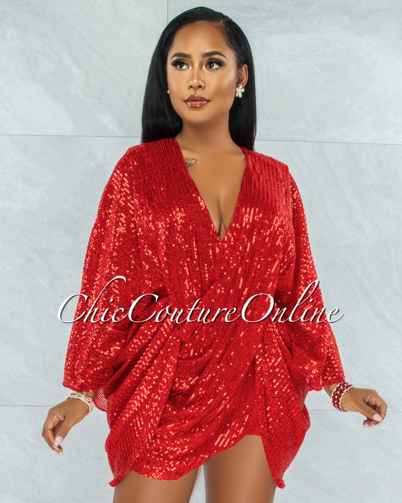 Duarte Red Sequins Drape Kimono Dress