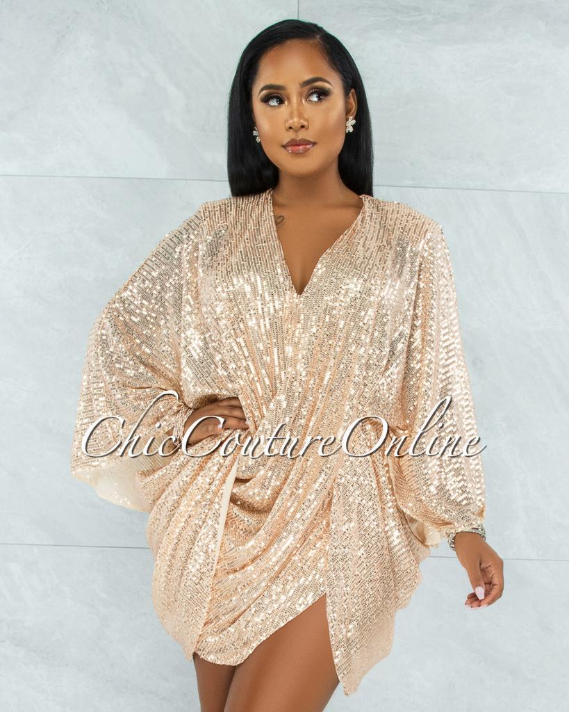 Duarte Champagne Sequins Drape Kimono Dress