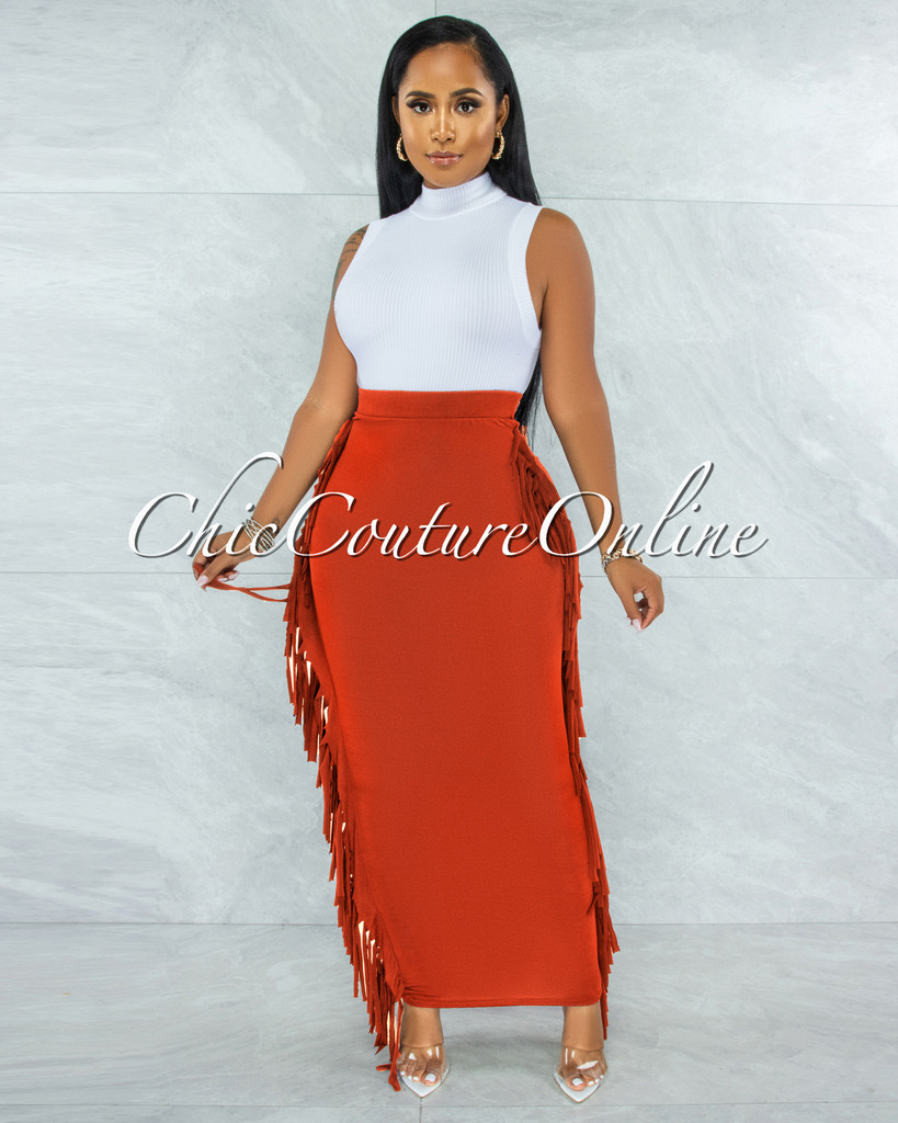 Hania Rust Fringe Sides Pencil Maxi Skirt