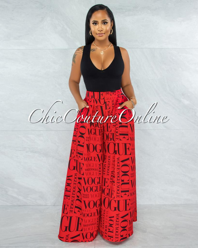 Nalia Red Black 'VOGUE' Print Pleated Wide Pants