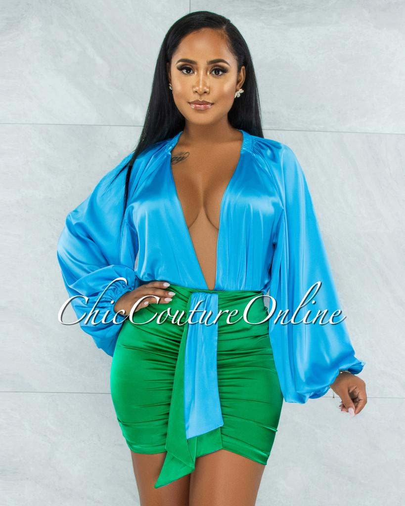 Calean Turquoise Bodysuit & Green Draped Skirt Satin Set