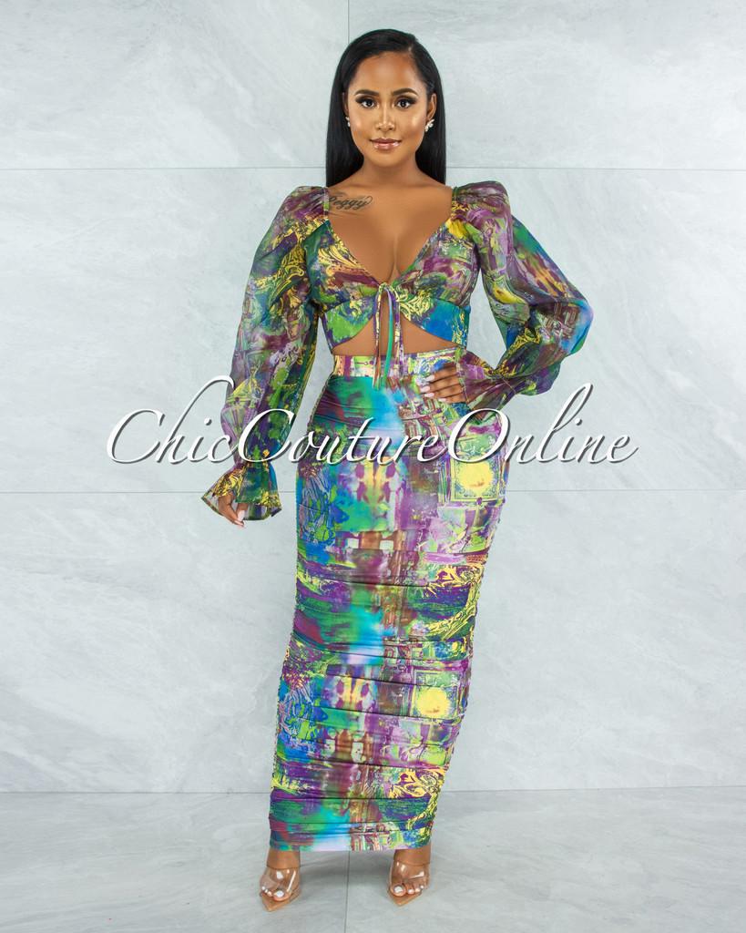 Devine Green Purple Print Mesh Top & Ruched Maxi Skirt Set