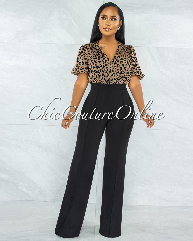 Dyami Leopard Print Top Black Bottom Two-Tone Jumpsuit