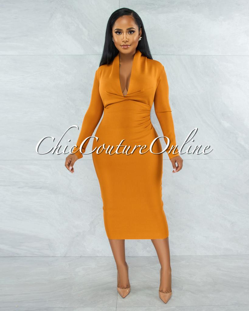 Athina Mango Draped Details Bandage Midi Dress