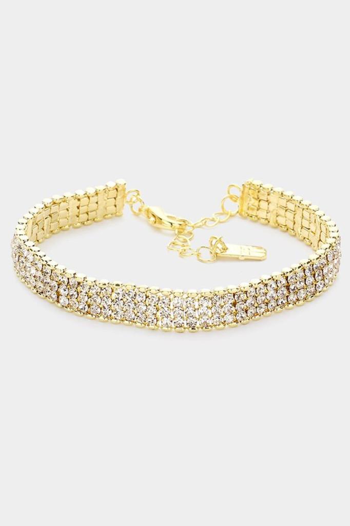 Siri Gold 3 Rows Rhinestone Evening Bracelet