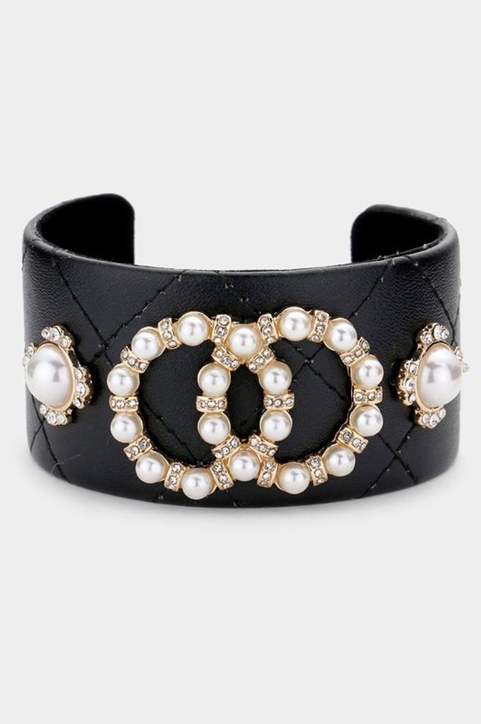 Lorla Black Pearl Embellished Double Link Cuff Bracelet