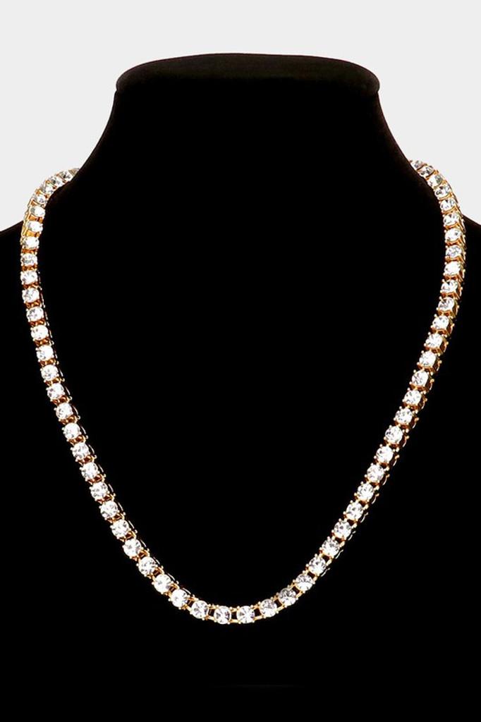 Jane Gold Round Stone Link Necklace