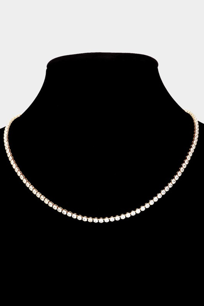 Medona Gold Thin Rhinestone Necklace