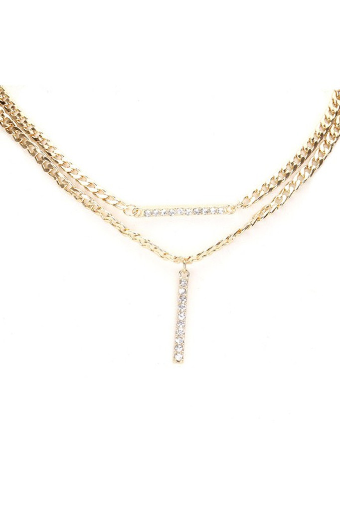 Francis Gold Stone Embellished Bar Pendant Accented Necklace