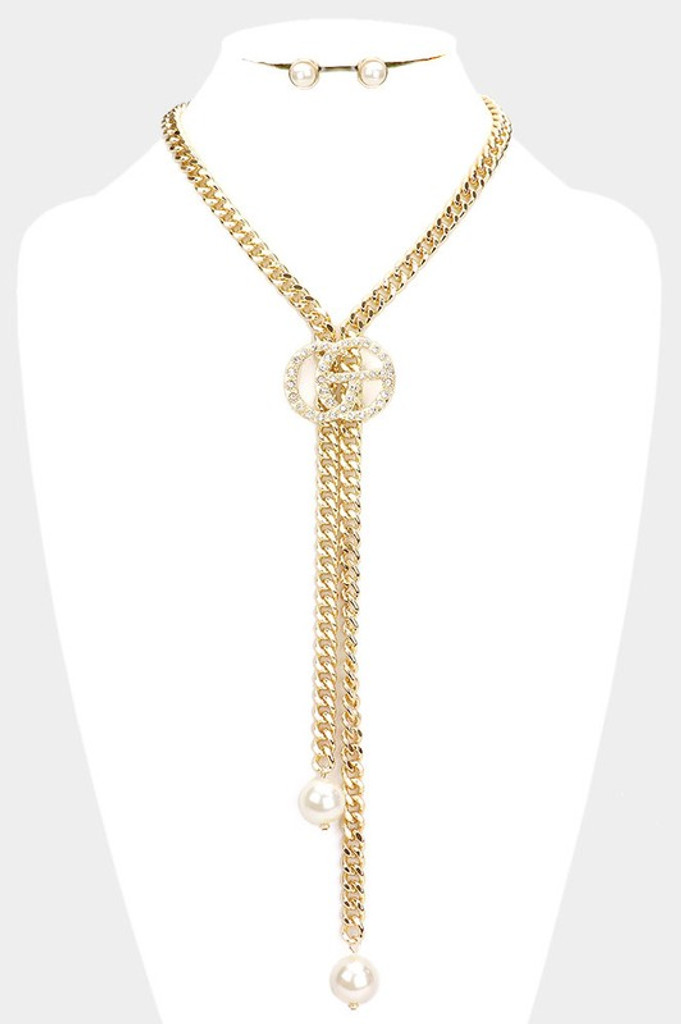 Danielle Gold Pearl Link Chain Y Necklace