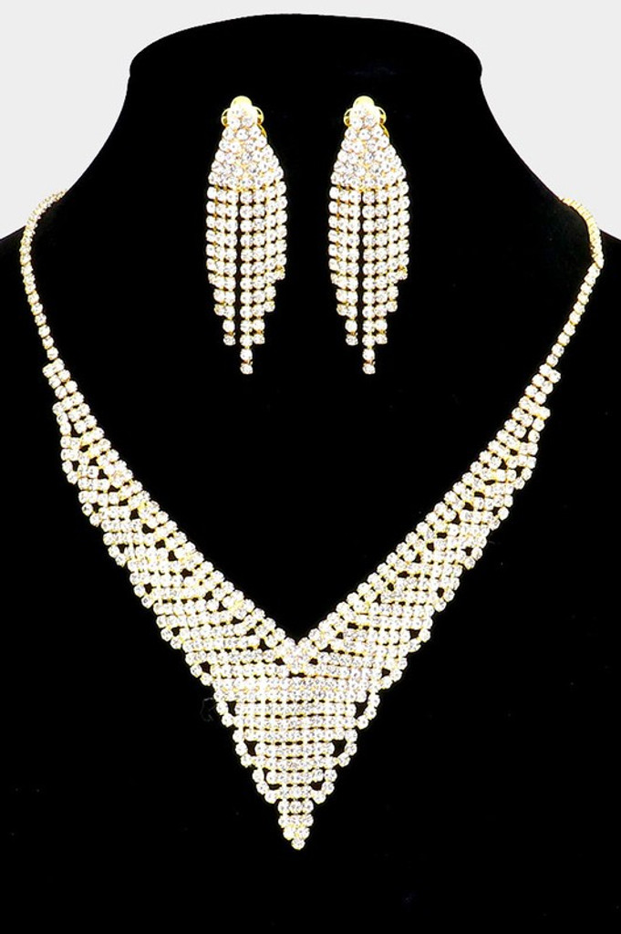Sadie Gold Rhinestone Pave Necklace Clip On Earring Set