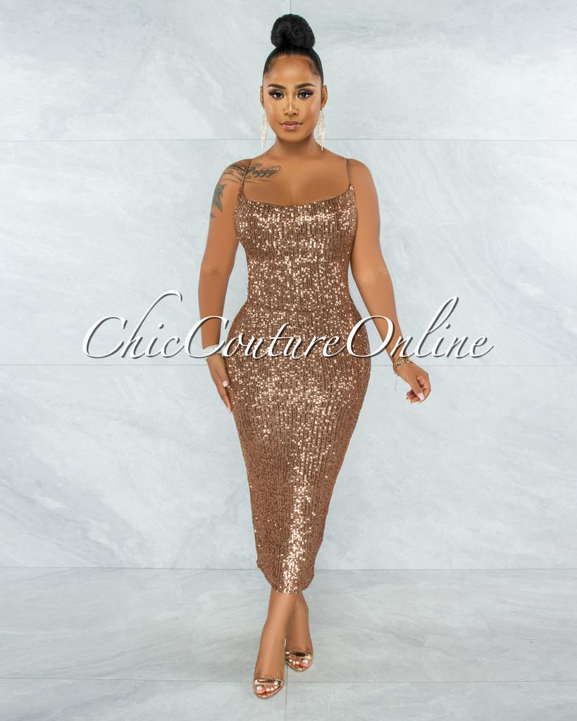 Tamari Bronze Sequins Lace-Up Open Back Midi Dress