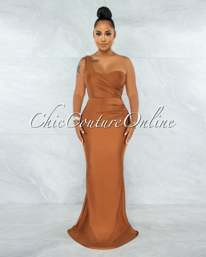 Fernanda Copper Single Shoulder Draped Maxi Dress