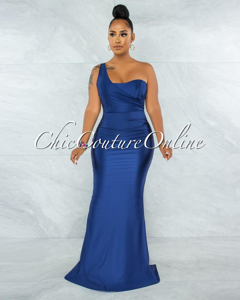Fernanda Navy Blue Single Shoulder Draped Maxi Dress